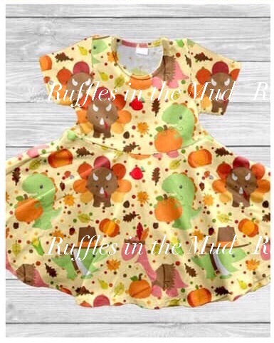Dinosaur's Thanksgiving Twirly Dress • PREORDER CLOSES THURSDAY, AUG. 8
