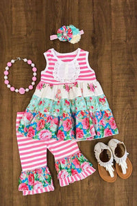 Pink Striped Floral Tunic Shorts Set • PREORDER CLOSES SATURDAY, FEB. 23