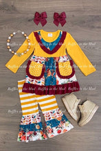 6/7 • Mustard & Maroon Pocket Top Pants Set