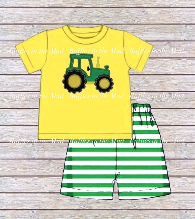 JD Embroidered Tractor Boy's Shorts Set • PREORDER CLOSES TUESDAY, FEB. 4