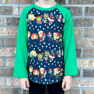 3/6m-8/9 • Avengers Christmas Lights Raglan