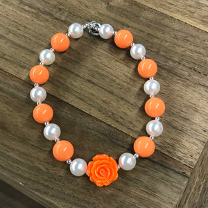 Orange Rose & Pearls Chunky Bead Necklace