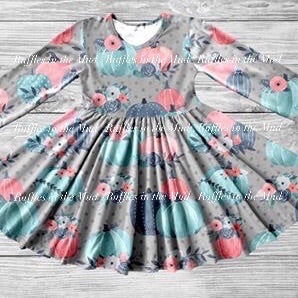 Pretty Blue Pumpkins Twirly Dress • PREORDER CLOSES SUNDAY, AUGUST 18