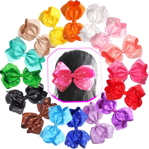 "8"" Rhinestone Hair Bows - Bulk Set • 16 Colors"