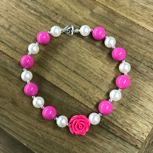 Pink Rose & Pearls Chunky Bead Necklace