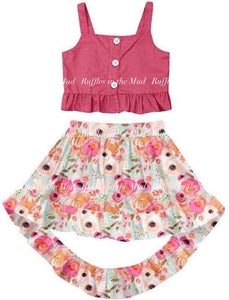 14/16 • Pink Floral Crop Tank & Hi-Lo Skirt Set 💜 Big Sister