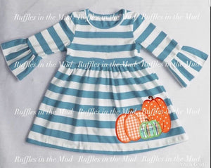7/8 • Blue Striped Pumpkin Dress