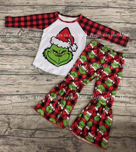 Grinchy Plaid Ruffles Pants Set • PREORDER CLOSES THURSDAY, OCT. 10