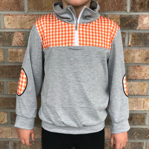 3/6m-7/8 • Orange Checkered Pullover