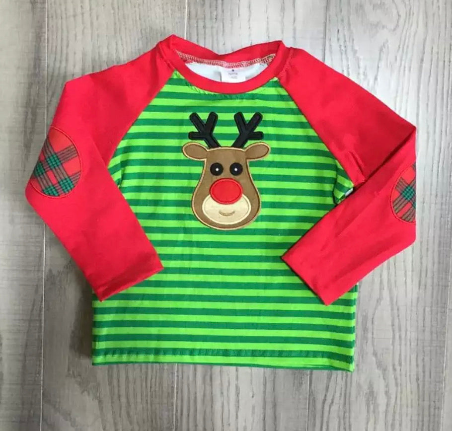 Green Striped Reindeer Raglan • PREORDER CLOSES TUESDAY, DEC. 3 @ 9pm