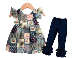 Blue Quilt Patchwork Denim Pants Set