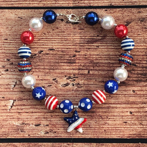 Red, White, & Blue Star Chunky Bead Necklace