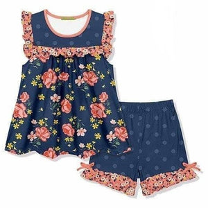 6/12m-14/16 • Coral & Navy Floral Shorts Set 💜 Big Sister