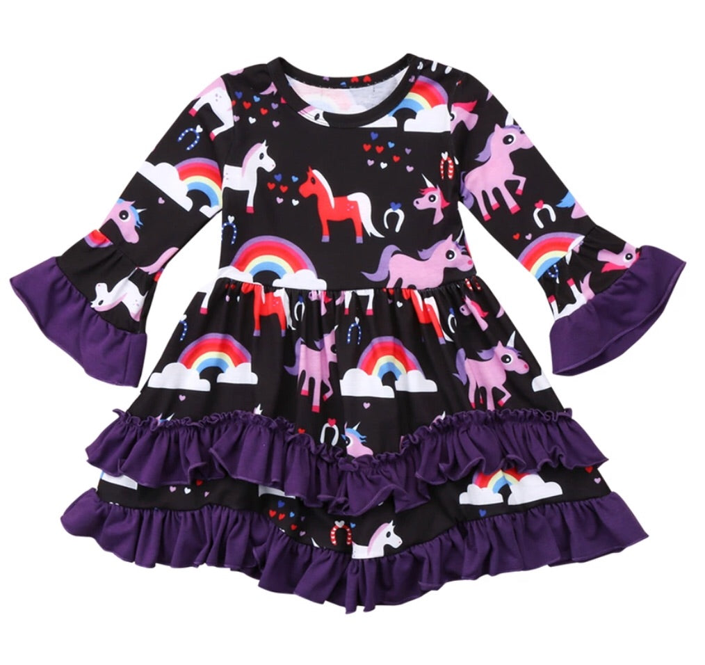 Toddler • Black & Purple Unicorn Ruffle Dress • PREORDER CLOSES SATURDAY, JAN. 27