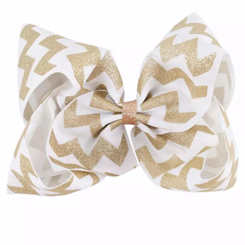 "8"" • Gold Glitter Chevron Bow"