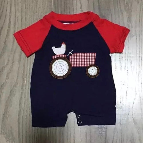 0/3m-12/18m • Little Plaid Tractor Romper