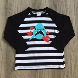 6/12m-6/7 • Black Striped Love Bite Shark Raglan