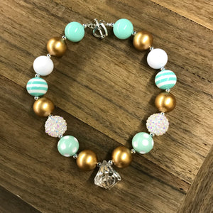 Mint & Gold Chunky Bead Jewel Necklace