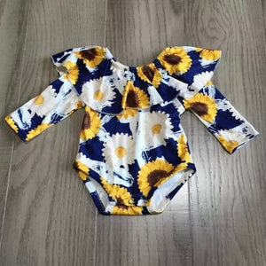 0/3m, 6/12m, 12/18m • Navy & Sunflowers Ruffle Top Romper