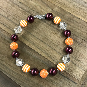 Orange & Maroon Chunky Bead Necklace