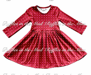 Red Polka Dot Christmas Twirly Dress • PREORDER CLOSES SATURDAY, JULY 28