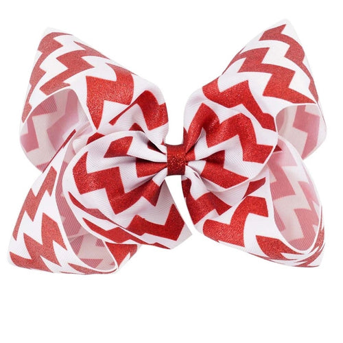 "8"" • Red Glitter Chevron Bow"