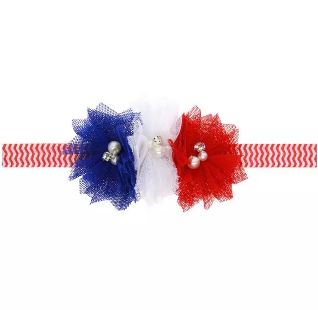Red, White, & Blue Pearl Flowers on Chevron Headband