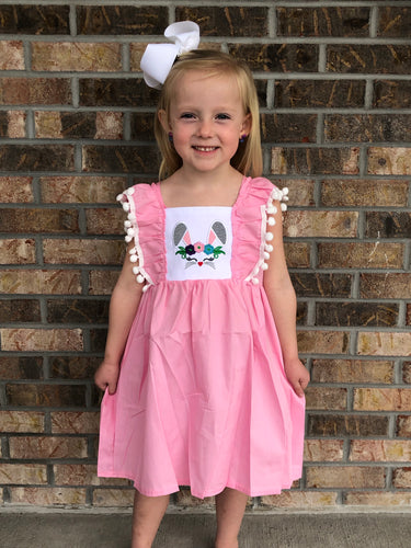 2T, 3T • Embroidered Bunny Pink Pom-Pom Dress