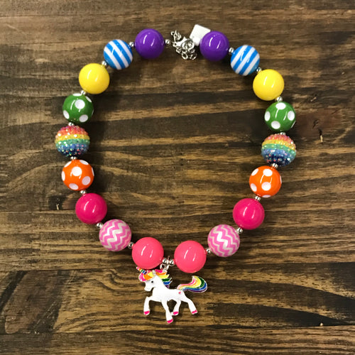 Rainbow Unicorn Chunky Bead Necklace