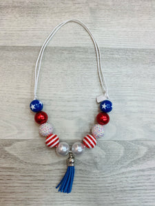 Patriotic Blue Tassel Adjustable Chunky Bead Necklace