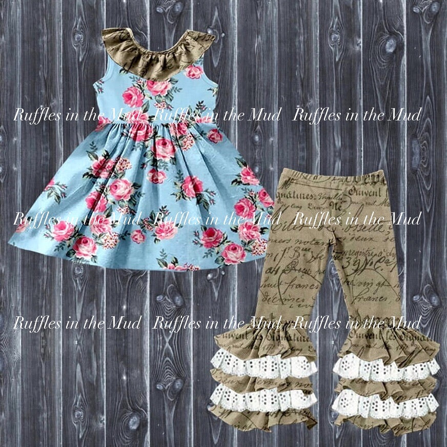 Blue Rose Floral Script Upscale Boutique Pants Set • PREORDER CLOSES SATURDAY, MARCH 7