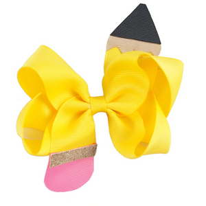 "Yellow • 4.5"" Pencil Hair Bow"