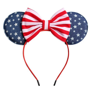 Red, White, & Blue Stars Fabric Minnie • Ears Headband