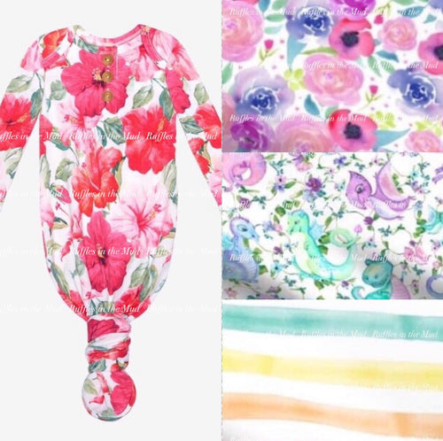 NB-3/6m • Watercolor Roses Infant Gown