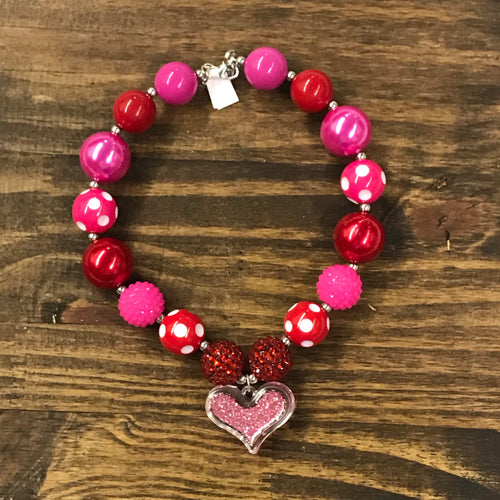 Red & Pink Valentine Love Chunky Bead Necklace
