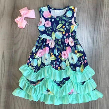 2T • Navy & Mint Floral Tiered Ruffle Maxi Dress