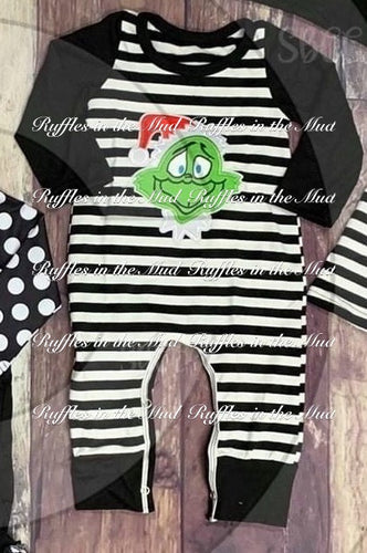 0/3m-12/18m • Embroidered Black & White Grinch Romper