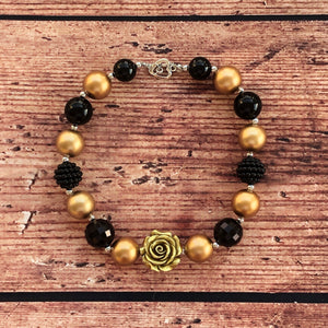 Black & Gold Rose Chunky Bead Necklace