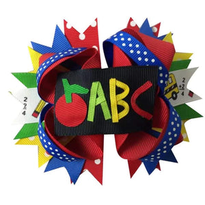 "5"" • Apple ABC Loop Hair Bow"