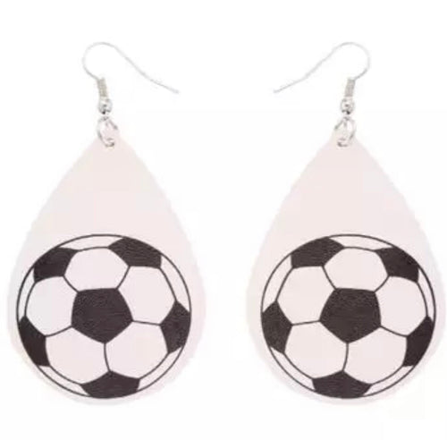 Soccer Faux Leather Earrings