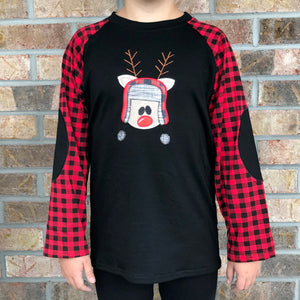 0/3m-12/18m, 7/8 • Embroidered Buffalo Plaid Reindeer Raglan