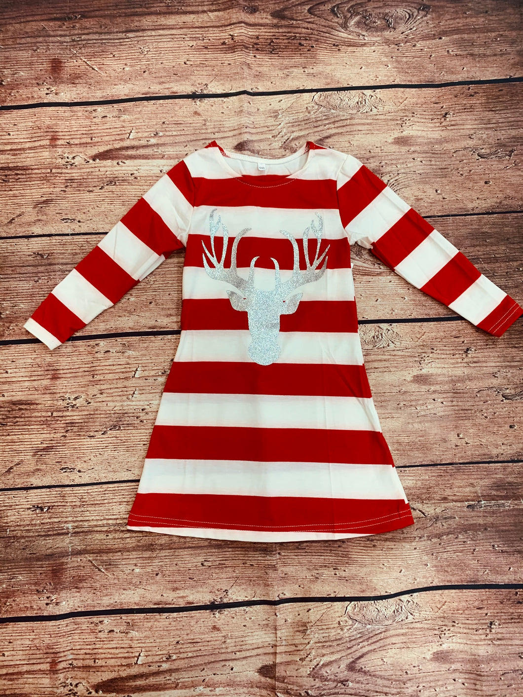 3T, 4T • Striped Reindeer Tunic Dress