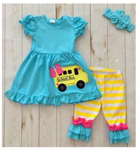 6/7 • Blue & Yellow School Bus Capri Set