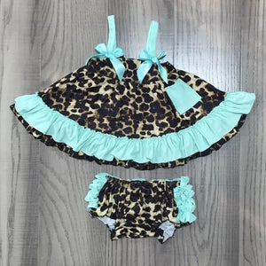 3/6m-12/18m • Mint & Leopard Swing Outfit with Ruffle Butt Bloomers