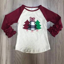 Maroon & Plaid Tree Ruffle Raglan • PREORDER CLOSES TUESDAY, DEC. 3 @ 9pm