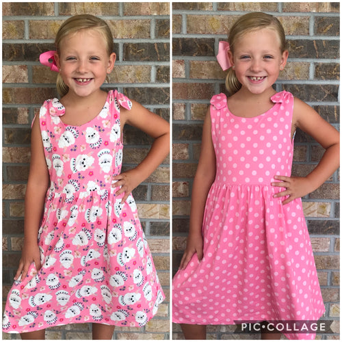 6/12m, 12/18m, 4T • REVERSIBLE Llama & Dot Knot Dress