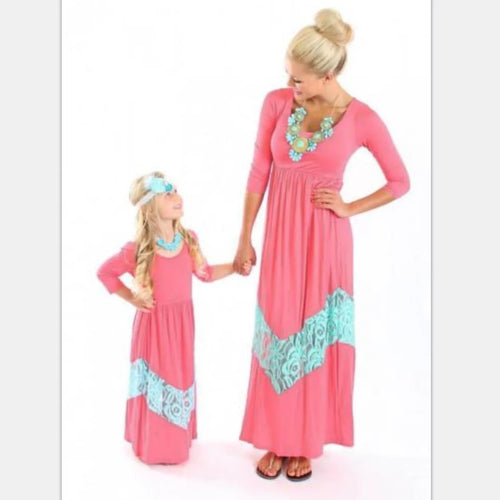 Coral & Mint Lace Mommy & Me Dresses • PREORDER
