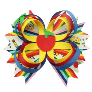 "5"" • Triple Ribbon Loop Apple Bow"