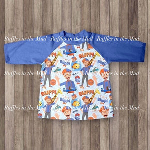 6/12m-4T  • Shout Blippi! Long Sleeve Raglan