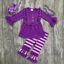 Purple & Pink Striped Pants Set
